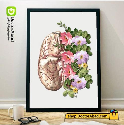 تابلوی هنر آناتومی مغز و گل