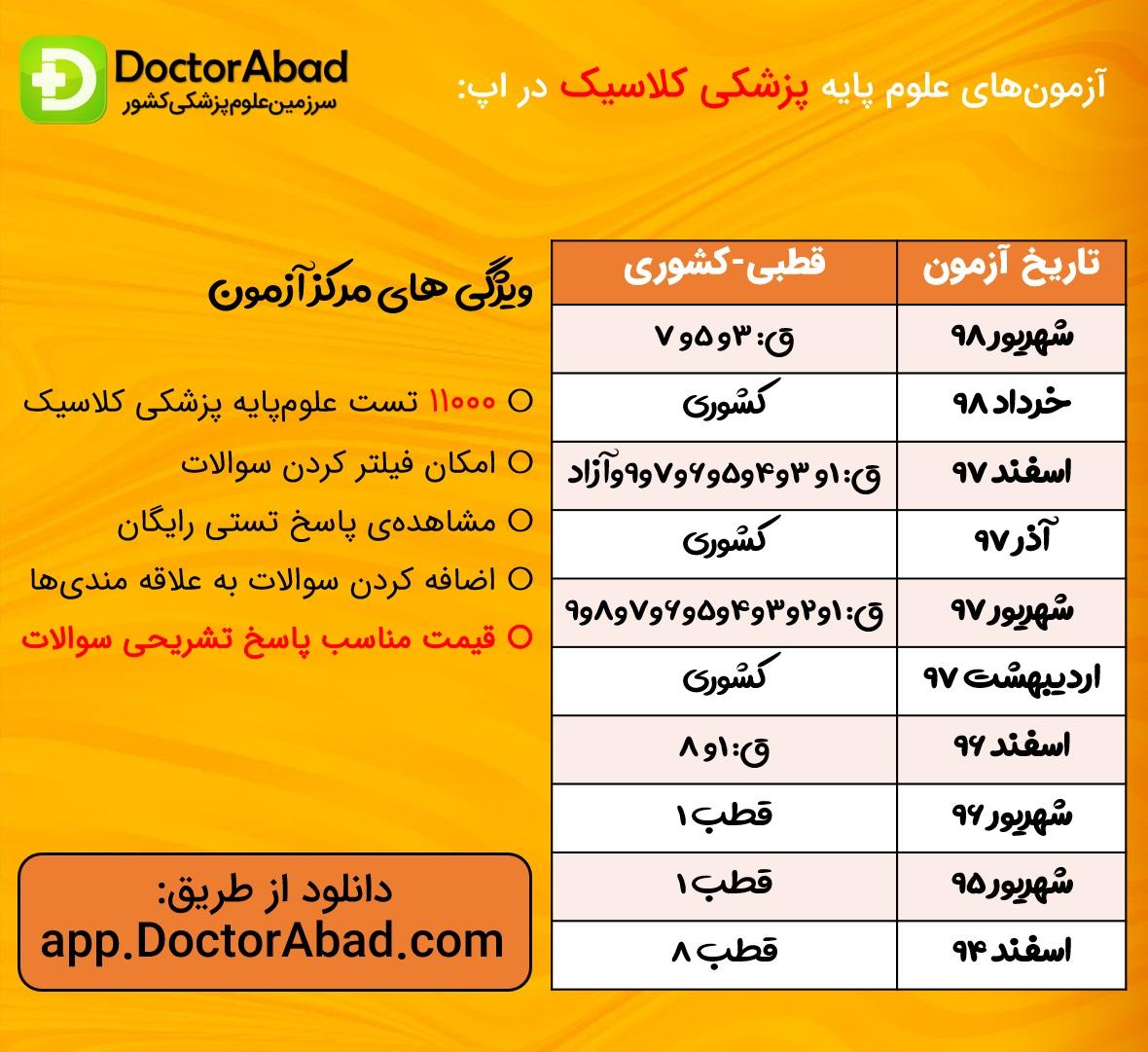آزمون های علوم پایه پزشکی کلاسیک موجود در اپلیکیشن دکتر آباد